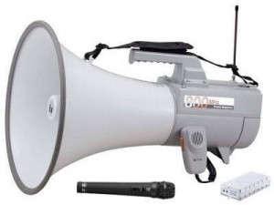スーパーで街頭演説のワイヤレス音声を受信